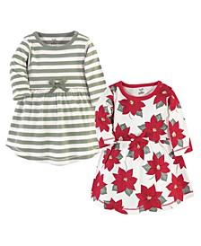 Big Girls Poinsettia Long-Sleeve Dresses, Pack of 2