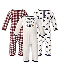 Baby Girls and Boys Moose Hug Coveralls, Pack of 3