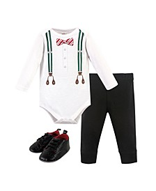 Baby Boy Suspenders Bodysuit, Pant and Shoe Set, Pack of 3