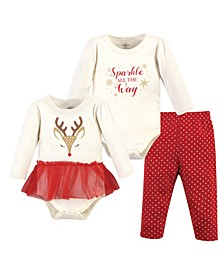 Baby Girls Pretty Reindeer Bodysuit and Pant Set, Pack of 3