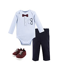 Baby Boys Glasses Bodysuit, Pant and Shoe Set, Pack of 3