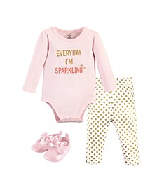 Baby Girls and Boys Sparkling Bodysuit, Pack of 3