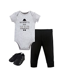Baby Boys Mommys Man Bodysuit, Pant and Shoe Set, Pack of 3