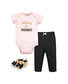 Baby Girls Fabulous Bodysuit, Pant and Shoe Set, Pack of 3