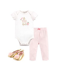 Baby Girls and Boys Beyoutiful Bodysuit, Pant and Shoe Set, Pack of 3
