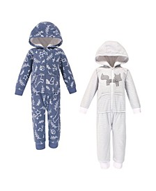 Toddler Girls and Boys Forest Yoga Sprout Hooded Fleece Jumpsuits, Pack of 2