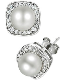 Cultured Freshwater Pearl (6mm) and Diamond (1/4 ct. t.w.) Stud Earrings in 14k White Gold