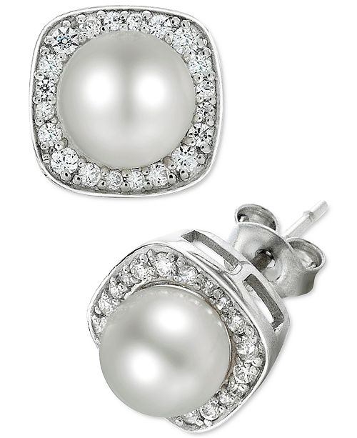 Macy's Cultured Freshwater Pearl (6mm) and Diamond (1/4 ct. t.w.) Stud Earrings in 14k White Gold