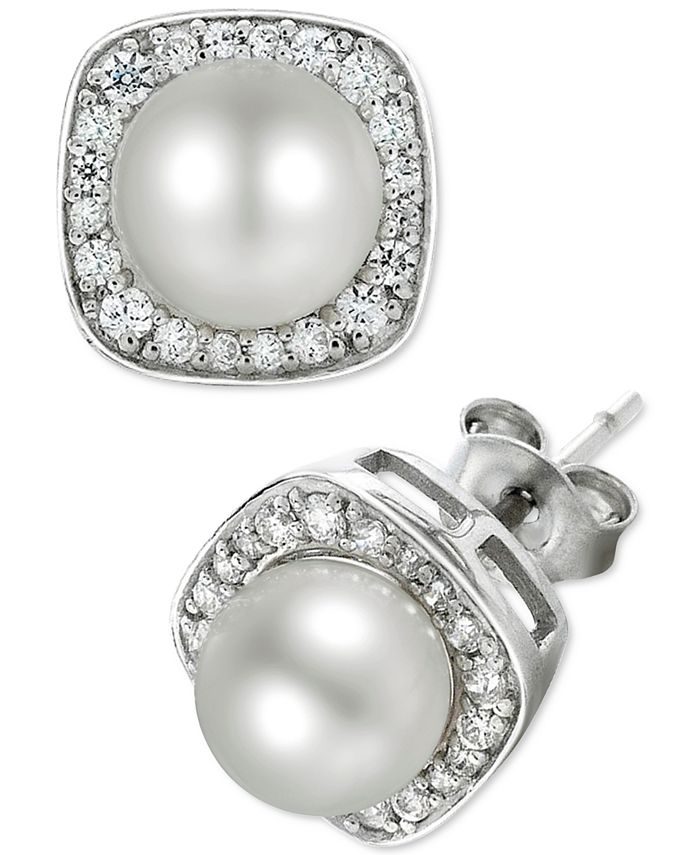 Macy's - Cultured Freshwater Pearl (6mm) and Diamond (1/4 ct. t.w.) Stud Earrings in 14k White Gold
