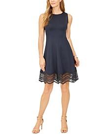 Petite Lace-Trim Fit & Flare Dress
