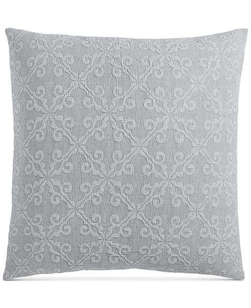 "Charter Club Woven Tile Cotton 258-Thread Count 26"" x 26"" European Sham, Created for Macy's"
