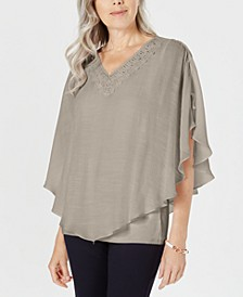 T Crochet-Neck Gauze Top, Created for Macy's