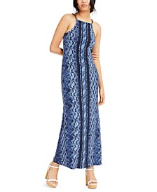 Chain-Link Python-Print Maxi Dress, Regular & Petite Sizes