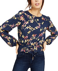 Juniors' Floral Smocked-Waist Crop Top