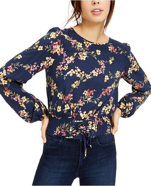 Love, Fire Juniors' Floral Smocked-Waist Crop Top