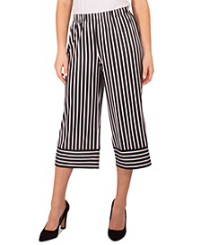 Petite Striped Cropped Pants