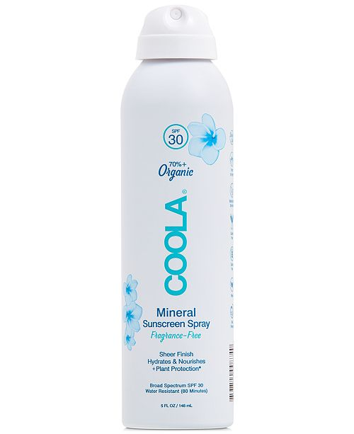 COOLA Mineral Body Organic Sunscreen Spray SPF 30 - Fragrance Free, 5-oz.