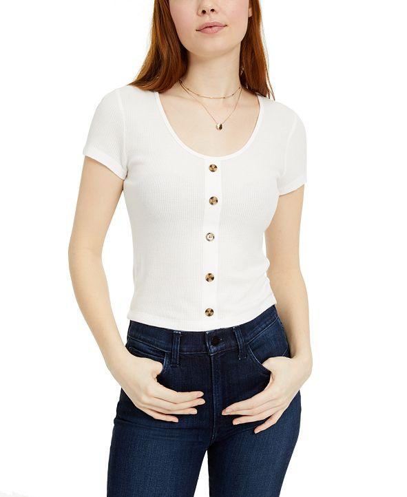 Hippie Rose Juniors' Button-Trimmed Waffle-Knit Top