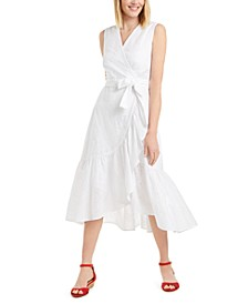 Petite Cotton Eyelet Flounce Dress, Created for Macy's
