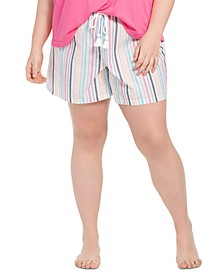 Plus Size Metallic Striped Pajama Shorts, Created for Macy's
