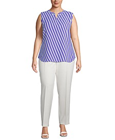 Plus Size Sleeveless Striped Split-Neck Top