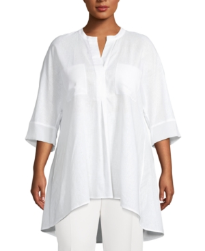 Anne Klein High/low Mixed Media Linen & Cotton Tunic In White