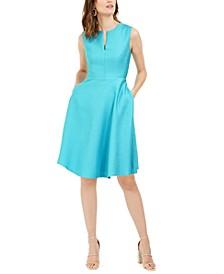 Bubble Jacquard Split-Neck Dress