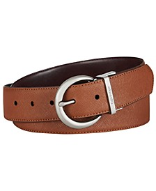 Reversible Saffiano to Smooth Leather Belt