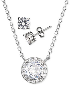 2-Pc. Set Cubic Zirconia Halo Pendant Necklace & Solitaire Stud Earrings in Sterling Silver, Created for Macy's