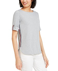Boat-Neck Striped-Side Top