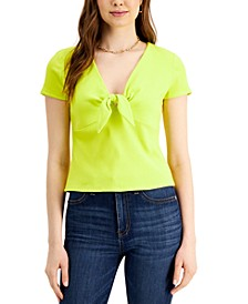 Ribbed Tie-Front T-Shirt, Created for Macy's