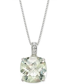 "Mint Quartz (6-1/4 ct. t.w.) & White Topaz (1/20 ct. t.w.) 18"" Pendant Necklace in Sterling Silver"