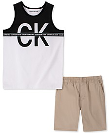Little Boys 2-Pc. Colorblocked Logo Tank & Shorts Set