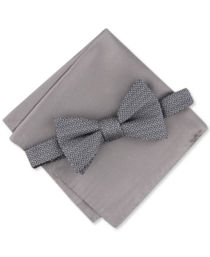 Alfani Men's 2-Pc. Pre-Tied Geo Bow Tie & Solid Pocket Square Set, Created for Macy's
