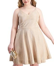 Trendy Plus Size Glitter-Knit Fit & Flare Dress