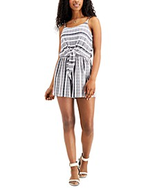 Juniors' Striped Tie-Front Romper