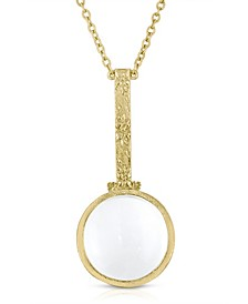 """Gold Tone Magnifying Glass 28"""" Necklace"""