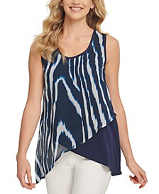 Printed Mixed-Media Asymmetrical-Hem Top