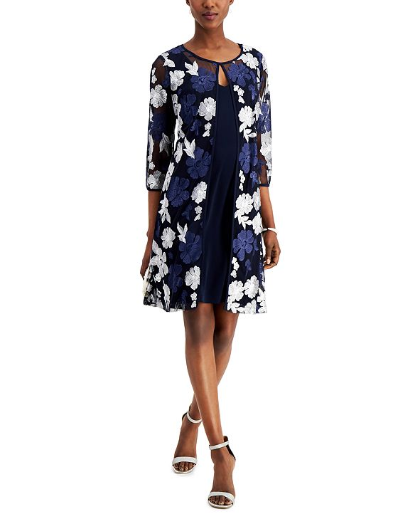 Connected Plus Size Mesh Embroidered Jacket & Dress