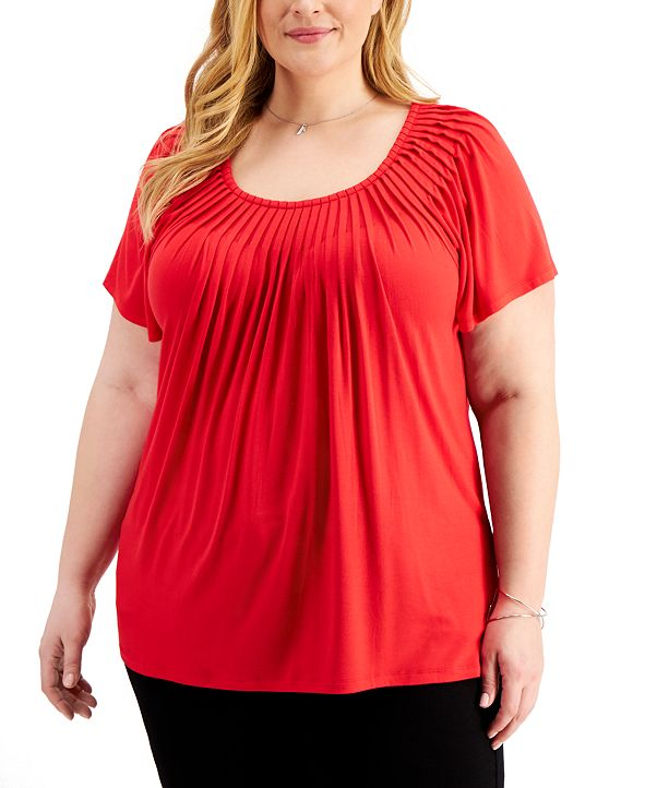 Style & Co Plus Size Pleated-Neck Top, Created for Macy's