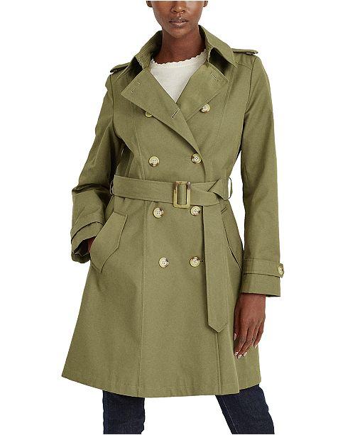 Lauren Ralph Lauren Belted Water Resistant Trench Coat, Created for Macys, Created for Macy's