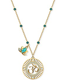 "Gold-Tone Crystal Lotus Charm & Om Symbol Pendant Necklace, 14-7/8"" + 2"" extender"