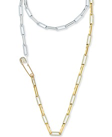 "Two-Tone Large Pavé Link Safety Pin 45-5/8"" Strand Necklace"
