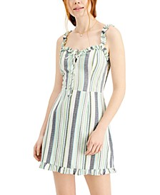 Juniors' Striped Ruffled Fitted Dress