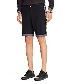 """Men's Leopard Print Side Stripe 9"""" Shorts"""