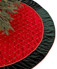 Holiday Lane Red & Green Velvet Christmas Tree Skirt, Created for Macy's