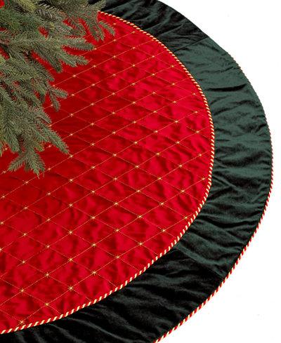 Holiday Lane Red & Green Velvet Christmas Tree Skirt, Created for Macy's