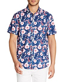 Men's Floral Slim Fit Short Sleeve Shirt