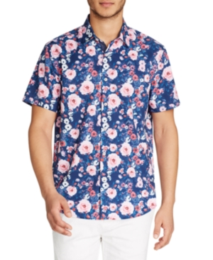 Tallia Men's Floral Slim Fit Short Sleeve Shirt