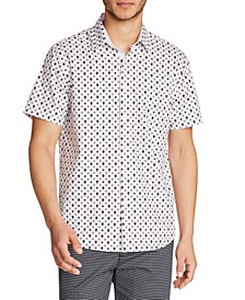 Men's Slim Fit 4-Way Stretch Geo Skull Print Short Sleeve Shirt